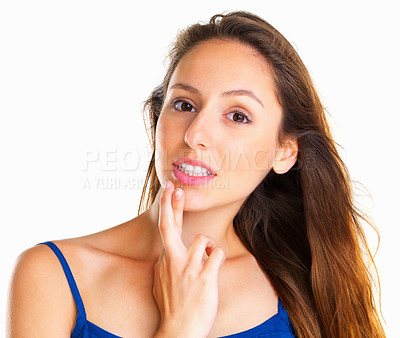 Buy stock photo Woman crossing her fingers against chin