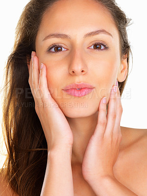 Buy stock photo Woman holding her face in her hands
