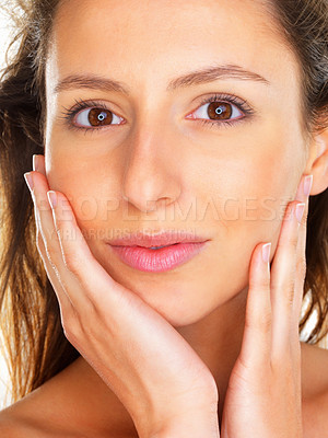 Buy stock photo Head shot of woman with hands on face