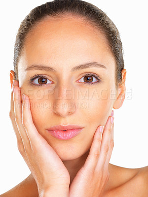 Buy stock photo Head shot of woman with her hands on her face