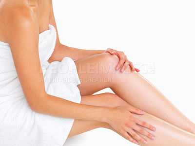 Buy stock photo Close up of woman's body while sitting in a towel