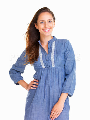 Buy stock photo Woman smiling with hand on hip
