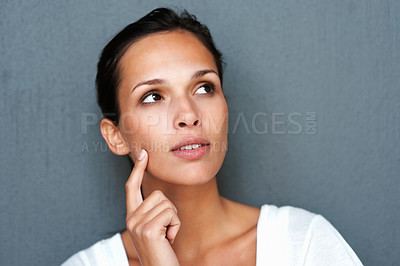 Buy stock photo Portrait of woman thinking