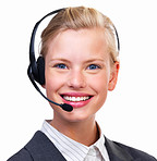Portrait of a happy young lady with headset