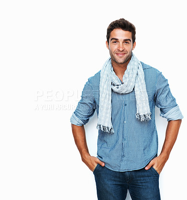 Buy stock photo Studio portrait of a handsome young man posing against a white background