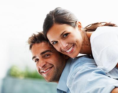 Buy stock photo Attractive couple being Playful