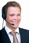 Smiling young businessman with headset isolated  white background