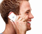 Happy young man talking on phone,and smiling