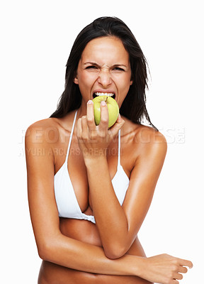 Buy stock photo Sexy woman about to bite into an apple
