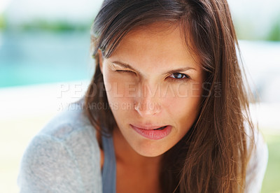 Buy stock photo Pretty woman acting goofy