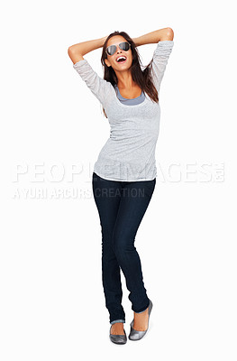 Buy stock photo Full-frame sexy woman with hands behind head