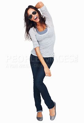 Buy stock photo Full-frame sexy woman posing with one arm raised above her head