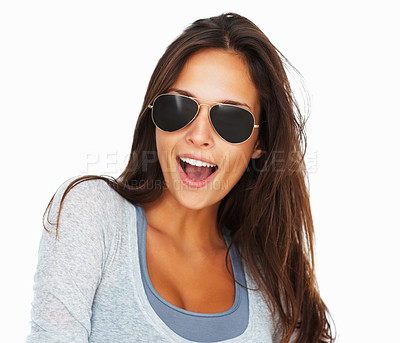 Buy stock photo Head shot of woman wearing sunglasses against white background