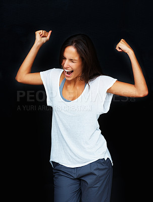 Buy stock photo Woman expressing excitement against black background