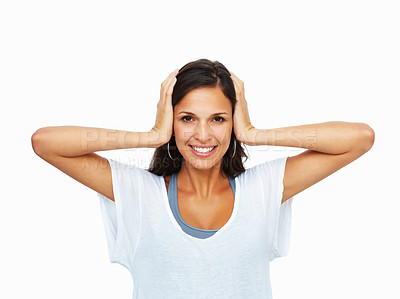 Buy stock photo Woman holding hands to ears against white background