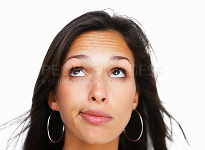 Buy stock photo Head shot of woman making face against white background