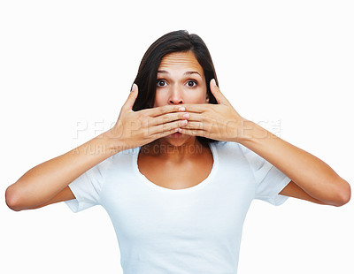 Buy stock photo Woman with both hands in front of mouth against white background