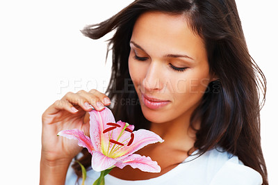 Buy stock photo Head shot of pretty woman holding a flower against white background