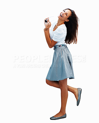 Buy stock photo Side view of pretty woman holding sunglasses on white background