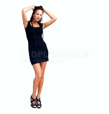Buy stock photo Woman looking down with hands in hair
