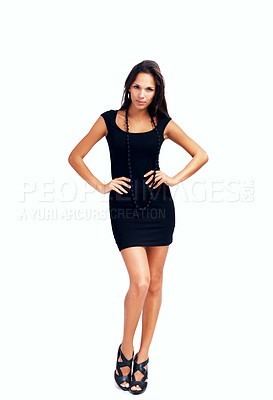 Buy stock photo Woman looking serious against white background