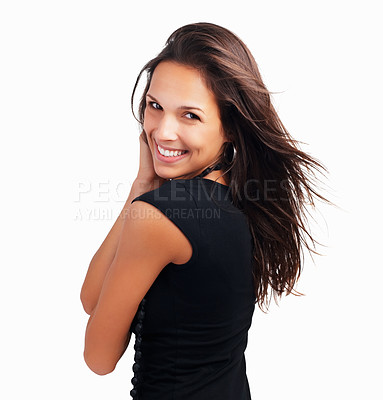 Buy stock photo Head shot of pretty woman flirting
