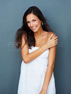 Buy stock photo Woman against blue background with hand on shoulder