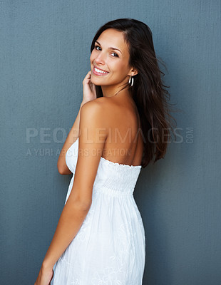 Buy stock photo Woman against blue background with hand on face