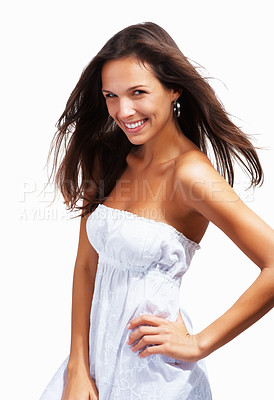 Buy stock photo Woman posing with hand on hip against white background