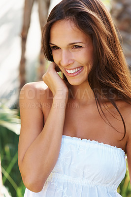 Buy stock photo Pretty brunette enjoying the outdoors