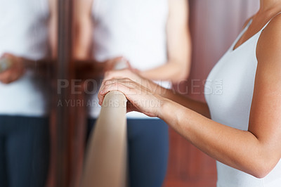 Buy stock photo Portrait of a female dancer with trainer in background