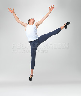 Buy stock photo Full length of a young man ballet dancing against white background
