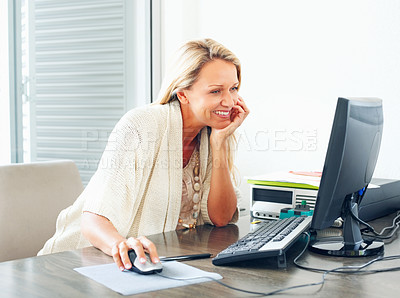Buy stock photo Pretty mature business or casual woman working on computer at desk