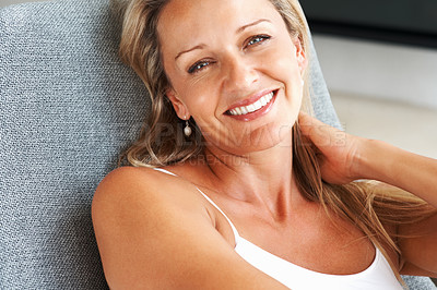 Buy stock photo Closeup portrait of a happy relaxed mid adult woman smiling