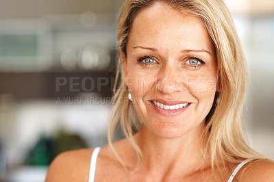Buy stock photo Closeup portrait of a beautiful happy mid adult woman smiling