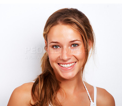 Buy stock photo Closeup portrait of cute young girl smiling against white background
