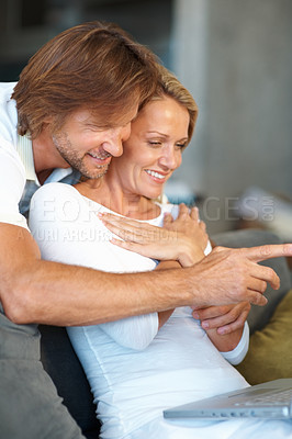 Buy stock photo Portrait of a mature man showing something on laptop screen to a happy woman