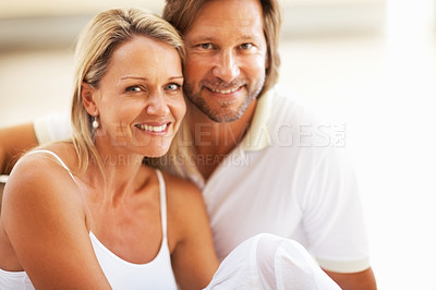 Buy stock photo Closeup portrait of a happy cute couple smiling