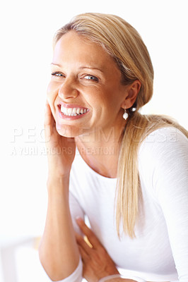 Buy stock photo Closeup portrait of a happy attractive mature woman smiling