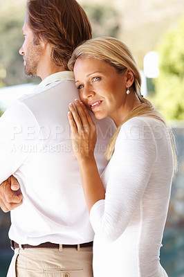 Buy stock photo Portrait of an affectionate mature woman embracing man from behind