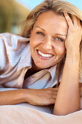 Buy stock photo Closeup portrait of a happy mid adult woman relaxing