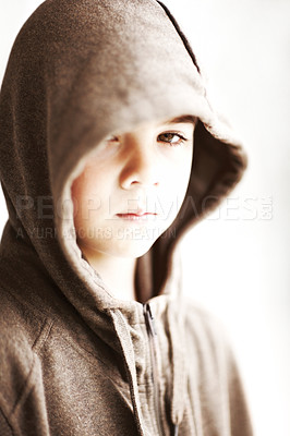 Buy stock photo Portrait of a cute small boy wearing a jacket