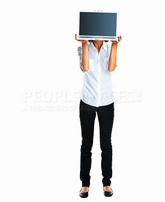 Buy stock photo Add your own text and ideas! - Woman holding laptop in front of face on white background