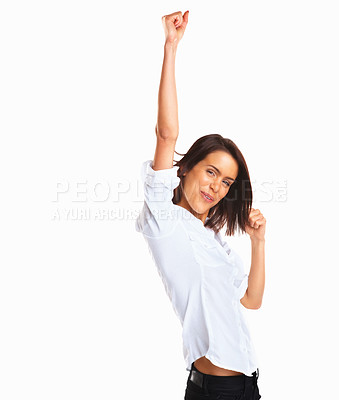 Buy stock photo Portrait of happy young woman showing a happy gesture on white background