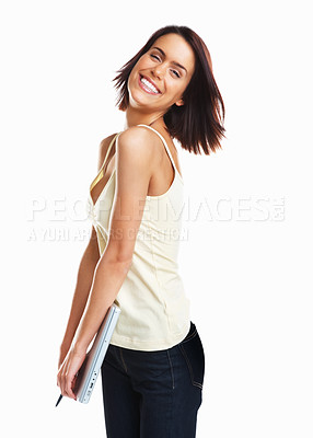 Buy stock photo Cheerful pretty young girl holding a laptop against white background