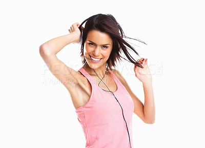 Buy stock photo Beautiful girl listening to music and dancing isolated on white background