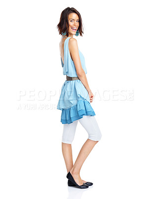 Buy stock photo Full length portrait of an attractive young girl posing on white background