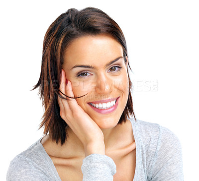 Buy stock photo Closeup portrait of a pretty young woman smiling on white background