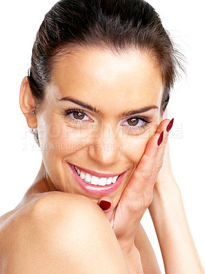 Buy stock photo Closeup portrait of a sexy young female model smiling over white background