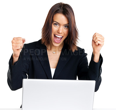 Buy stock photo Portrait of an excited businesswoman with her hand raised while working on laptop against white background